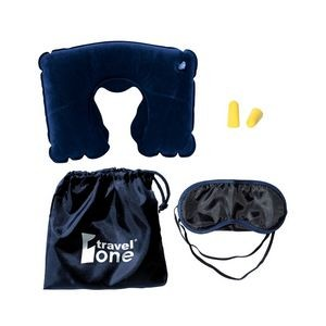 Travel Pillow Kit W/Ear Plugs & Eye Mask